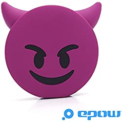 EPOW® Cargador de diablo 2600mAh EMOJI Power Bank Devil Purple Portable Emoticon de la batería Evil Fun Pokemon GO, Cargador de banco de energía externa para iPhone, Samsung, Compatible con todos los teléfonos inteligentes