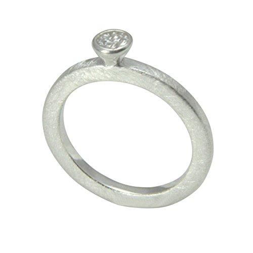 2 mm Silber Ring hochwertige Goldschmiedearbeit aus Deutschland (Sterling Silber 925) schlichter Ring - Vorsteckring mit Zirkonia Stein - Damenring - Verlobungsring - Beisteckring mattiert (Sterling Silber Ring Mit Edelsteinen)