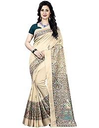 Cotton cream gray Bhagalpuri saree With Blouse