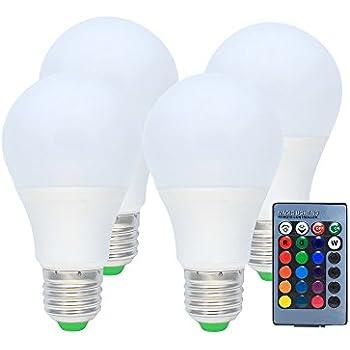 4X RGB LED Bombilla - Cambio de color con mando a distancia, 4 modos y Dimmable E27 3W Bombilla