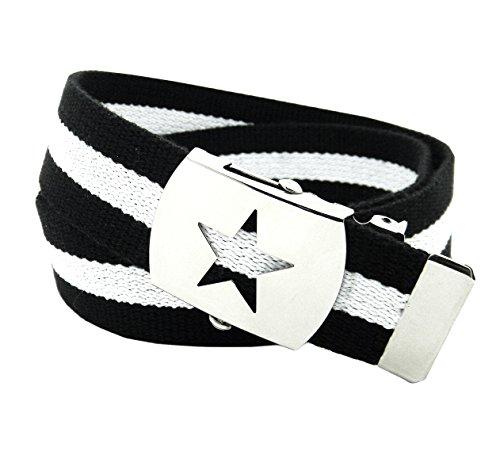 Build A Belt Jungen, Schule, Silber-Slider-Gürtel, Schnalle mit Canvas-Band Gr. Large 12-14 US, Black and White Stripe (Canvas-gürtel Silberne Schnalle)