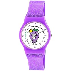 Mr Men and Little Miss Girl's Quartz Watch with White Dial Analogue Display and Purple PU Strap LM0004