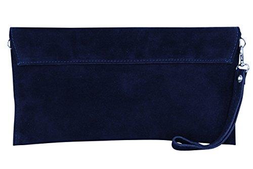 AMBRA Moda Pochette da giorno da donna Borse a mano clutch in vera pelle scamosciata WL811 Marineblau