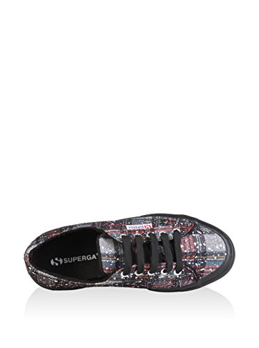 Superga 2750 Metallicmeshcheckw, Damen Sneakers Mehrfarbig (907n Navy/red/silver)