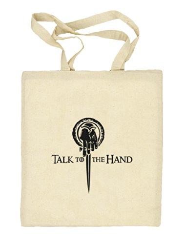 Shirtstreet24, Talk To The Hand, Natur Stoffbeutel Jute Tasche (ONE SIZE) Natur