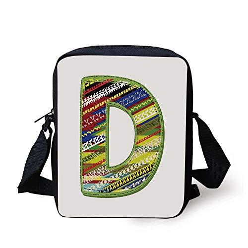 Letter D,Letter of Ornament D from Alphabet Winter Color Scheme Designs Old School Retro Decorative,Multicolor Print Kids Crossbody Messenger Bag Purse