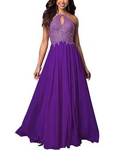 Cloverbridal Damen Abendkleider mit Gold Spitzen Applikationen Schlüsselloch Partykleider Lila 36