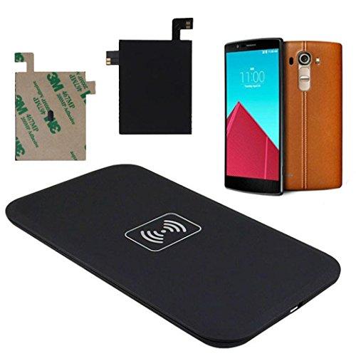 Prevently Wireless Qi Ladegerät Wireless Charger Drahtlose Induktive Ladestation Qi Wireless Ladegerät Ladepad + Qi Empfänger Aufkleber mit NFC für LG G4 (Colour A)