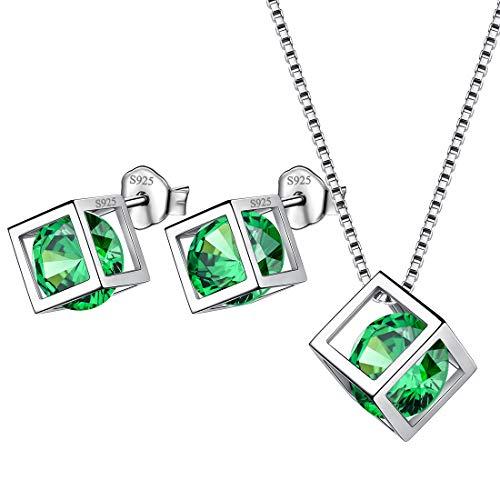 AuroraTears Mai Birthstone Halskette Ohrstecker 925 Sterling Silber Grün Smaragd Platz Geburtsstein Schmuck Set Geschenke für Frauen und Mädchen DS0028G (Smaragd-schmuck Für Frauen)