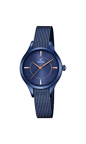 Festina MADEMOISELLE Women's Quartz Watch with Blue Dial Analogue Display and Blue Stainless Steel Plated Bracelet F16961/2