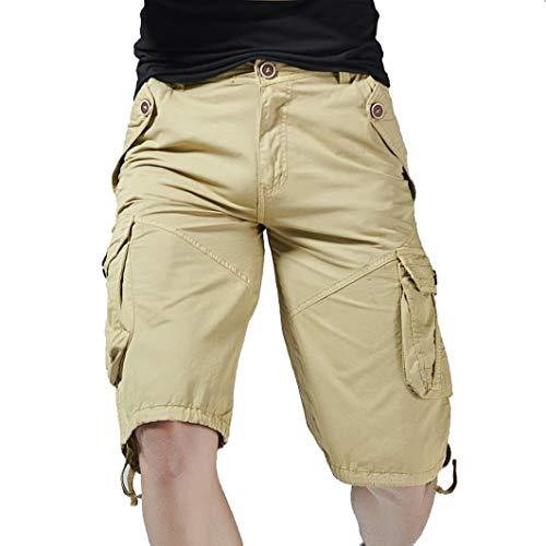 UJUNAOR Herren Cargo Hosen, Sommer Casual Männer Volltonfarbe Tashe Bermudas Strand Sports Shorts(40,Khaki)