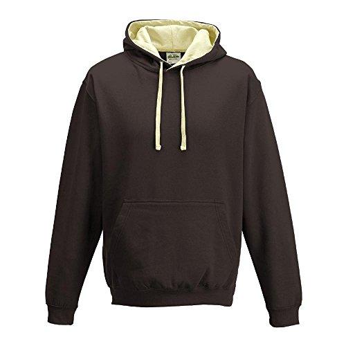 Just Hoods Varsity Hoodie mit farblich abgesetzten Kapuze Medium Brown - Hot Chocolate/Vanilla Milkshak (Bekleidung Chocolate Brown)