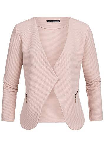 Gerippte Blazer (Styleboom Fashion® Damen Blazer 2 Zipper Cardigan Jacke Eingriffstaschen Geripptes Muster Rose, Gr:XXL)