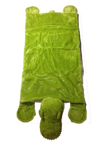 Foxxeo 11000-STD | Deluxe Schlafsack für Kinder Kinderschlafsack Plüsch Dinosaurier Dinosaurierschlafsack 165 cm Dino Schlaf Sack grüner Tierschlafsack Tier Reptil Kind grün