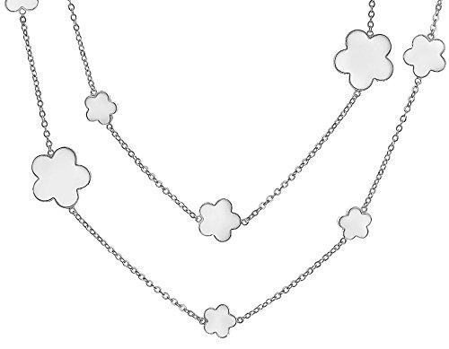 Bling Jewelry 5Leaf Clover esmalte blanco collar