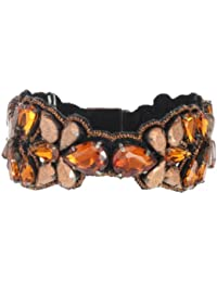 Deepa Gurnani Hand Embroidered Copper Faceted Crystals with Suede Lining Cuff of Length 18 cm