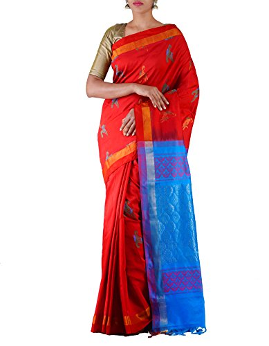 Unnati Silks Women Red-Blue Pure Handloom Uppada Silk Cotton Pattu Saree