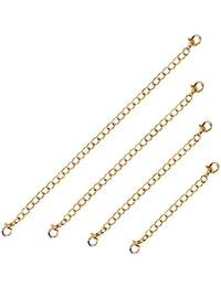 Extensor de pulsera de oro de 18 quilates y cierre de broche de acero inoxidable, 4 unidades