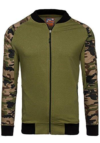 BOLF Herren Sweatshirt Sweatjacke Langarmshirt Stehkragen Zip 1A1 MIX Grün_0443