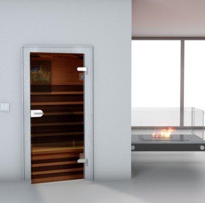 "Glastürfolie Transparent selbstklebend ""Sauna"" Türfolie Glastür Folie Poster Türtapete Tapete Fototapete Türposter 90cm x 210cm"
