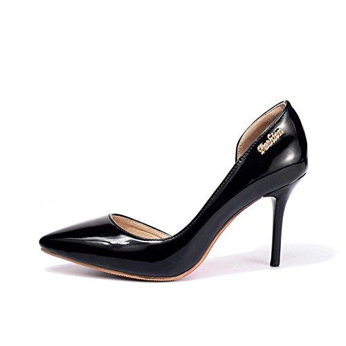 VogueZone009 Femme Tire Pointu à Talon Haut Pu Cuir Chaussures Légeres Noir