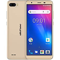"""Ulefone S1 (2018) Smartphone Android Go, Android 8.1 5.5"""" écran Sim Free Mobile Phone, MTK6580 Quad Core 1 GB RAM 8 GB ROM Arrière Double Caméra, Double SIM, Cellulaire Bluetooth Smartphone 3G - Or"""