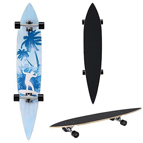 [pro.tec] Monopatín Longboard para el cruising en la ciudad y el parque - 116x22x12cm - Skateboard (negro, azul claro, surfista con palmas)