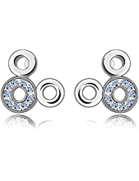 Silver Crystal Diamond Accent Fashion Earrings Made with Swarovski Crystal , with a Gift Box (Light Blue)