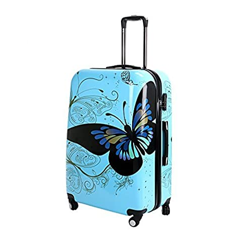 28 Blue Butterfly Upright Spinner Travel Luggage Suitcase 4 Wheel Cabin Trolley Set by WindMax