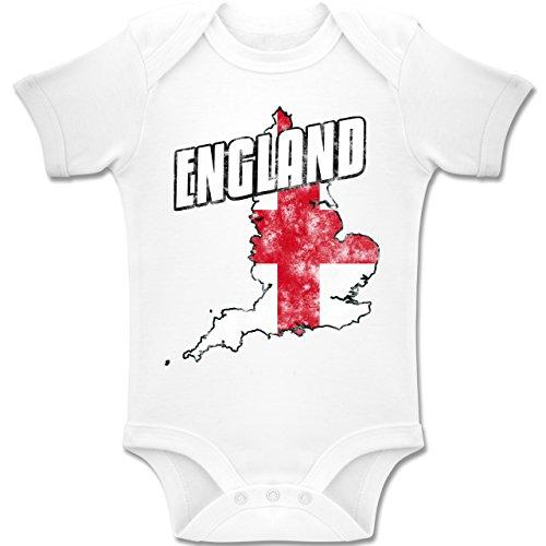 Shirtracer Fußball-Weltmeisterschaft 2018 - Baby - England Umriss Vintage - 12-18 Monate - Weiß - BZ10 - Baby Body Kurzarm Jungen Mädchen