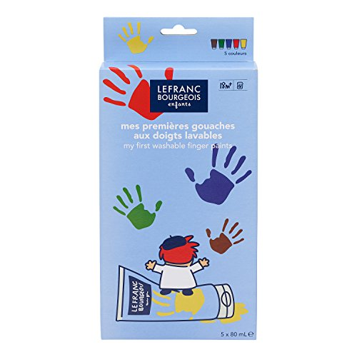 Lefranc & Bourgeois Kinder - Fingerfarben Set  Classic - 5 Farben in 80ml Tuben, Inklusive Tipps & Tricks -