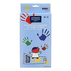 Lefranc & Bourgeois - Gouache para pintar con los dedos, 5 tubos de 80 ml, colores clásicos , Modelos/colores Surtidos, 1 Unidad