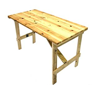 wood folding table 4 x 2 wooden trestle table with wooden folding legs 31066