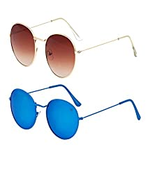 Vast Combo Of 2 Double Shaded Round Unisex Sunglasses (combo_3447_C14_C12))