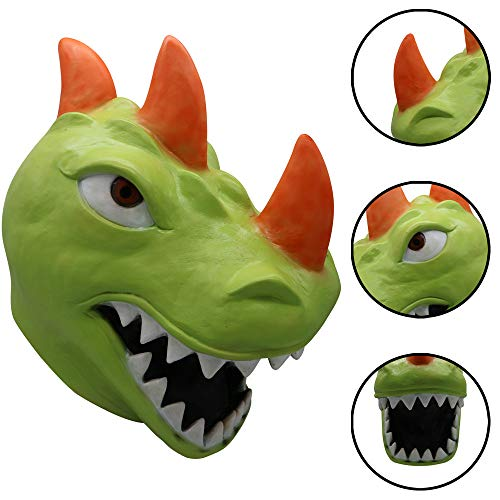 QHJ Halloween Kostüm Party Maske Cosplay Lustige REX Dinosaurier Maske Schmelzen Gesicht Latex Kostüm Halloween Scary Mask Helloween Kostüm Party (Scary Zirkus Kostüm)