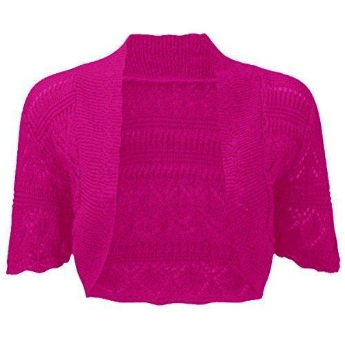 fashionchic femmes BOLERO étole femmes grande taille crochet cardigan tricot grande taille étole Haut 8-30 Fuchsia
