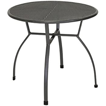 greemotion Table de jardin ronde Toulouse de 80 cm de diamètre – Table  ronde grise en acier – Table extérieure pour 4 personnes - Table à manger  ...