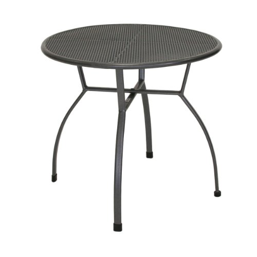 greemotion Table de jardin ronde Toulouse de 80 cm de diamètre – Table ronde grise en acier – Table extérieure pour 4 personnes - Table à manger design – Table moderne inoxydable