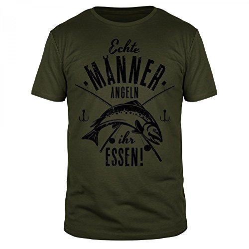 FABTEE Echte Männer Angeln Ihr Essen - Herren Fun T-Shirt - Verschiedene Farben - Größen S-4XL, Größe:L;Farbe:Oliv (T-shirt Angels La)