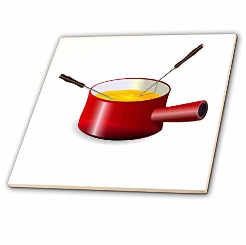 3drose CT _ 41654_ 1Retro Fondue-Topf mit Käse Keramik Fliesen, 10,2cm