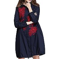 MCC camicie donna di grandi dimensioni di media lunghezza gonna con coulisse sciolti moda ricamato , blue , 4xl