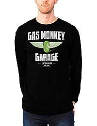Gas Monkey Garage T Shirt Speed Wheels Oficial de los Hombres Nuevo Negro Long