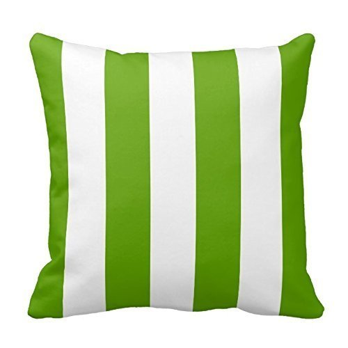 FPcustom Lime Green Awning Stripe Throw Pillow Covers 18 x 18