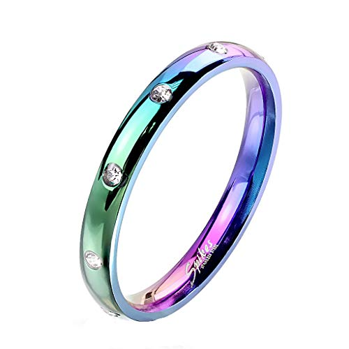 Paula & Fritz® Damen-Ring glänzend 3mm Zirkonia Silber Gelb-Gold Rosé-Gold Bunt Freundschafts-Ring Partner-Ring Edelstahl 316L R-M6822W_80 (Rose Gold Und Weißgold Ringe)