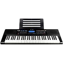 RockJam RJ461AX 61-Tasten-Alexa-tragbare digitale Klaviertastatur mit Notenständer, Netzteil, Simply Piano App und Note Key-Aufklebern