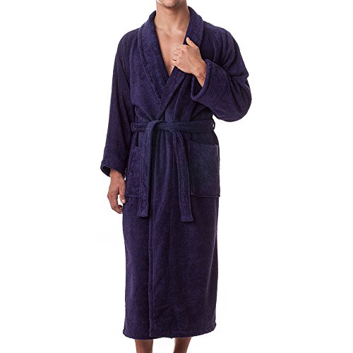 Unisex Frottebademantel aus ägyptischer Baumwolle von ExcetionalSheets, M, Lavendel Navy Blue