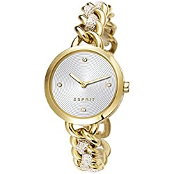 Esprit Lily Women's Quartz Watch with Silver Dial Analogue Display and Gold Stainless Steel Bracelet ES107952002