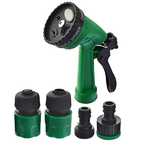 Tuyau de jardin Jeu de connecteurs au pistolet pulvérisateur d'eau et raccords de tuyauterie flexible 5pc
