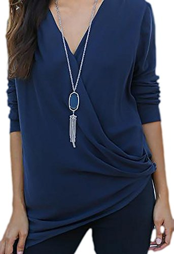erdbeerloft - Damen Elegantes Shirt in Wickeloptik mit V-Ausschnitt, 34-42,