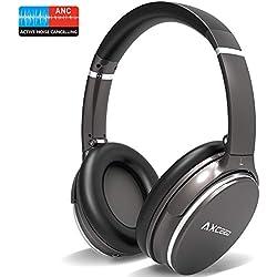 Casque Bluetooth sans Fil Réduction de Bruit Active, AXCEED Casque Pliable ANC Hi-FI Basse Audio Stéréo Écouteurs 12 Heures avec Micro Over- Ear Casque pour iPhone/Huawei/PC/TV